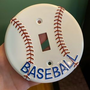 Baseball light switch cover / plate for kids room